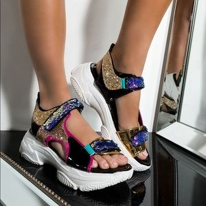 Multi glitter sequin platform sandal